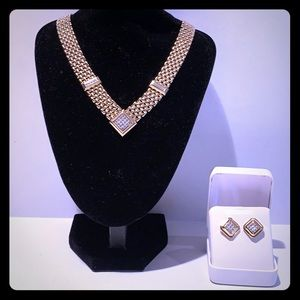 Avon Jewelry - Gold tone necklace and Earrings Set